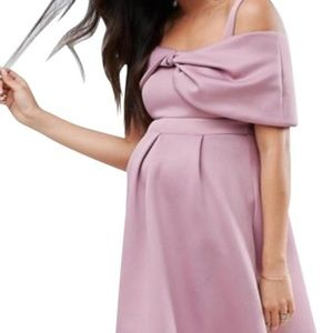 943d51c478 Lilac Maternity Bow Front Off The Shoulder Dress